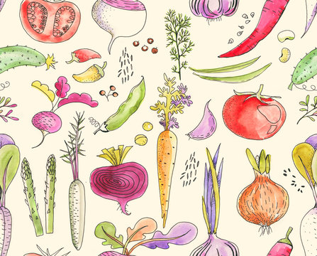 Hand-drawn seamless watercolor colorful pattern with different vegetables: tomato, onion, beet, cucumber etc. Harvest repeated background. Line art