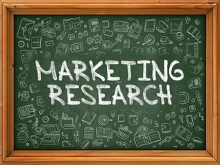 Hand Drawn Marketing Research on Green Chalkboard.