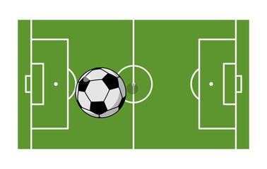 Football field and ball. Soccer game. Game ball high above groun
