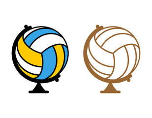 Globe volleyball. World game. Sports accessory as earth sphere.