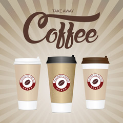 Coffee cup. Take away paper / plastic coffee cup vector illustration.