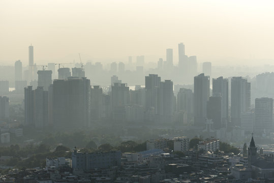 Air pollution over Seoul - South Korea. Ecological pollution is a very serious problem in Asia.