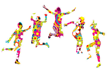 Floral patterned young people silhouettes jumping