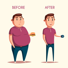 Man before and after sports. Cartoon vector illustration