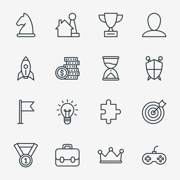 Business fun game or gamification icons