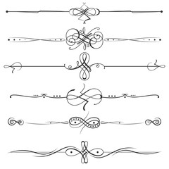 Calligraphic flourishes page dividers decoration illustration