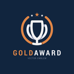 Gold Award emblem with trendy overlapping effect with shadows. The award for first place in the competition. Vector line logo in simple flat style.