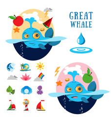 Great whale, ocean icons