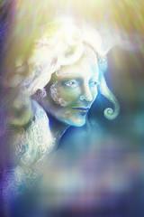 beautiful angel fairy spirit in rays of light, illustration