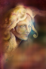 fairytale fairy woman face on abstract background with ornaments