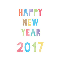 Colorful watercolor on happy new year 2017 text
