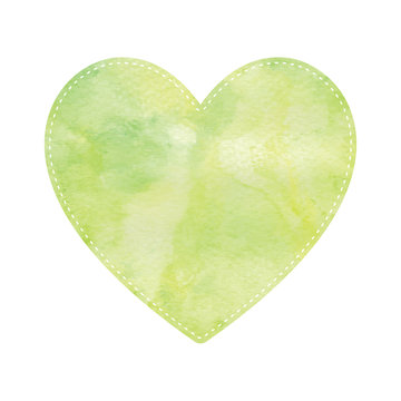 Green and yellow heart on white background