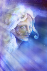 beautiful angel fairy spirit in rays of light, illustration