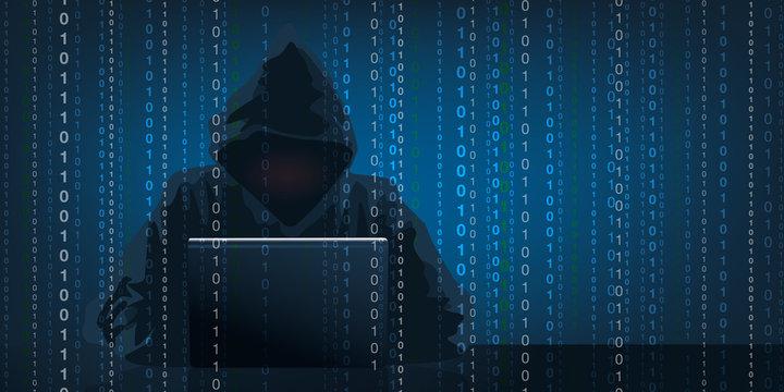 Concept du piratage informatique avec un hacker qui récupère des données confidentielles en camouflant son visage sous une capuche.