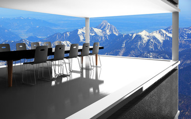 meeting room and Winter snow covered mountain /3D Rendering