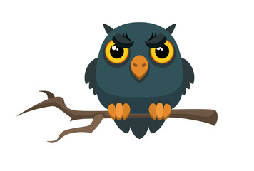 Old gloomy owl sitting on a thin tree branch. Vector illustration for Happy Halloween celebration