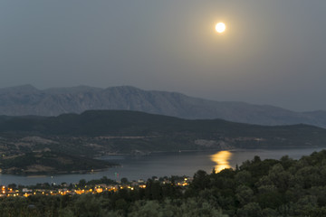 Twilight view from the top of the hill to coast of Lefkada