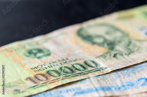Vietnamese banknote of 100,000 VND closeup