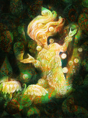 magical radiant fairy spirit in forest dwelling making floating lights
