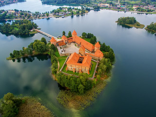 Trakai, Lithuania: Island castle, aerial UAV top view
