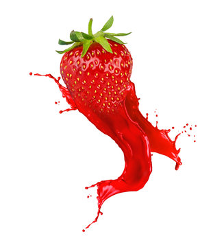 abstract red strawberry juice color splash isolated on white background