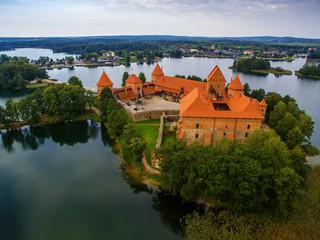Trakai, Lithuania: Island castle, aerial UAV top view