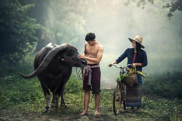 Couple farmer in farmer suit with buffalo Fototapete