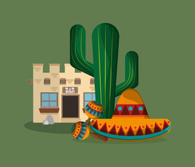 sombrero with mexican culture related icons image vector illustration