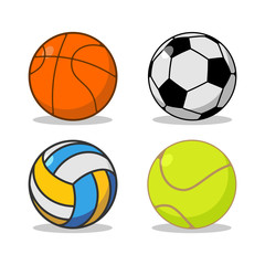 Sports ball set. Basketball and football. Tennis and volleyball.