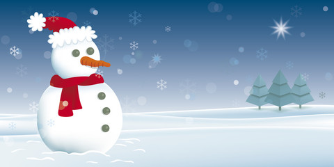 Christmas card with snowman. Vector illustration of a snowman in a snowy landscape.