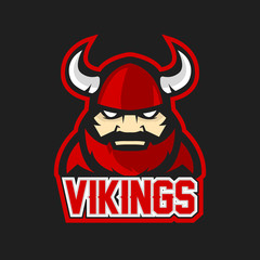 Modern professional logo for sport team. Viking mascot. Vikings, vector symbol on a dark background.
