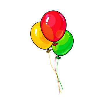 Bunch of three bright and colorful balloons, cartoon vector illustration isolated on white background. Trio of red, yellow and green balloons, birthday, party carnival decoration elements