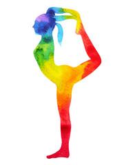 standing back bending 1 leg yoga pose 7 color chakra watercolor painting