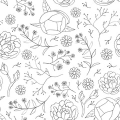 Seamless hand drawn floral vintage pattern