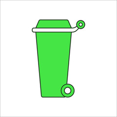 Trash can on wheels sign flat icon on background