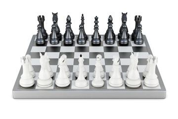 Chess front view isolated on white background. 3d rendering