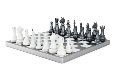 Chess board with figures isolated on white background. 3d render