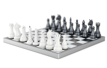 Chess board with figures  on white background. 3d rendering