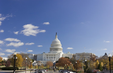 Looking eastwards up Maryland Avenue towards the United States Capitol Building & grounds, Capitol Hill, Washington DC
