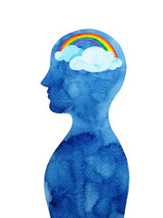 rainbow in human head abstract thought watercolor painting illustration design