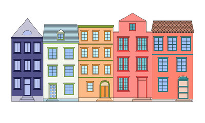 Row of color houses, vector illustration