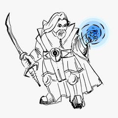 vector, dwarf warrior magician, line drawing, sword, cloak, magic, black, white, sketch, for games, fictional cartoon image