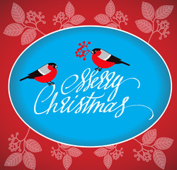 Christmas Greeting Card with bullfinches and handdrawn lettering.