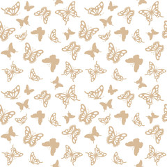 Luxury seamless pattern background with golden filigree butterflies isolated on white. For wedding invitation, birthday card, wrapping paper.