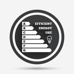 Energy efficiency icon. Electricity consumption.