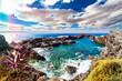 Detaily fotografie Cala y mar.Isla de Tenerife.Canarias.Paisaje marino y roca volcanica.Viajes y aventuras por la costa.Vegetación y acantilado bajo los rayos del sol