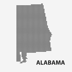 Dotted map of the State Alabama. Vector illustration.