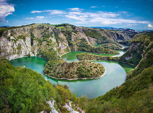 Meanders at rocky river Uvac gorge, southwest Serbia