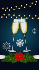 Abstract Beauty Merry Christmas and New Year Background with Gla