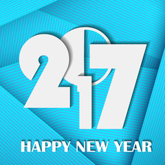 New Year 2017 concept on blue abstract line card background. Use for posters, covers, placards, flyers and banner designs. Vector illustration